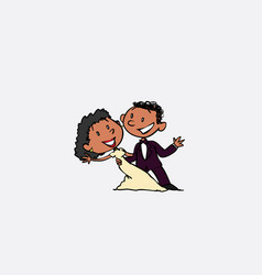 Couple of black newlyweds dancing happy isolated vector