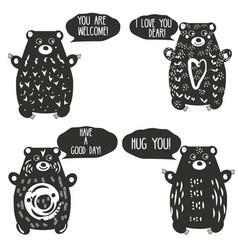 Cute bears in artistic linocut style woodcut vector