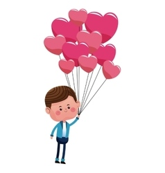 Cute boy with hearts balloons love vector