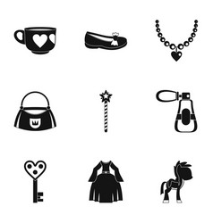 Doll princess icon set simple style vector