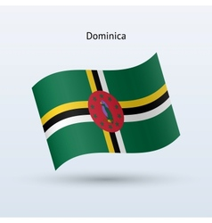 Dominica flag waving form vector image