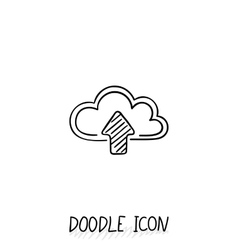 Doodle cloud icon online store upload and vector