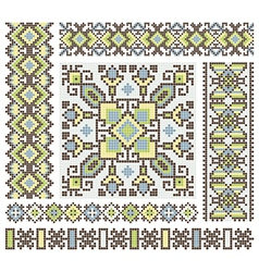 embroidered good like handmade cross-stitch vector image vector image