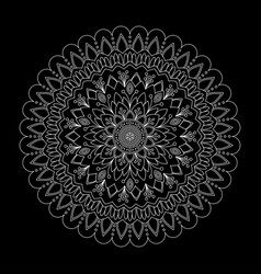 Floral mandala on black background vector