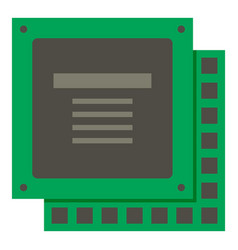 Green computer cpu processor chip icon isolated vector