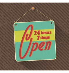 hanged retro open sign vector image vector image