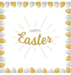 Happy easter lettering with realistic eggs vector