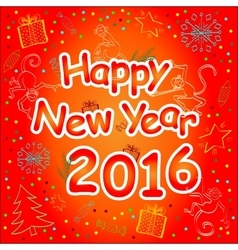 Happy New Year Card in rich red tones vector image
