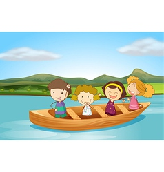Kids on a boat vector image vector image