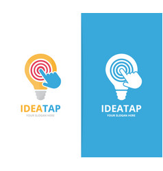 Lamp and click logo combination lightbulb vector