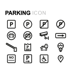 line parking icons set vector image vector image