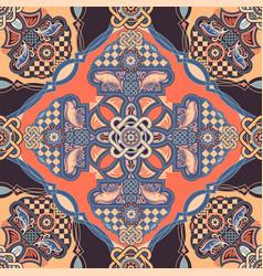 Ornamental tile pattern colorful square vector
