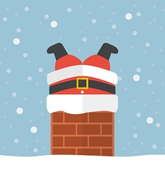 Santa claus stuck in the chimney vector