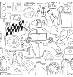 Seamless pattern with doodle icons for car and vector
