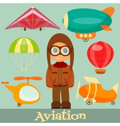 Set of Air Vehicles Airman in Uniform vector image