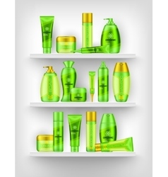 Shelves With Cosmetics 3d Design vector image vector image
