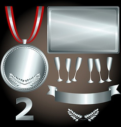 Silver elements for games and sports vector
