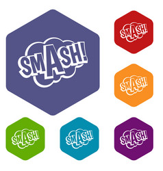 Smash comic book bubble text icons set hexagon vector