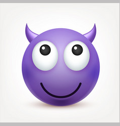 smileyemoticon violet face with emotions facial vector image vector image