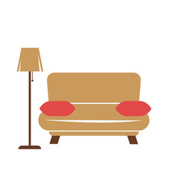 Sofa with pillows and lamp vector