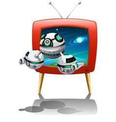 Spaceship flying out of television vector