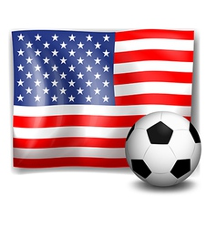 The flag of america with a soccer ball vector