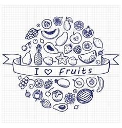 Vintage Doodle Set I Love Fruits vector image vector image