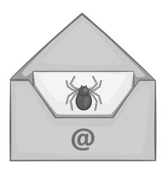 Virus in e-mail icon gray monochrome style vector