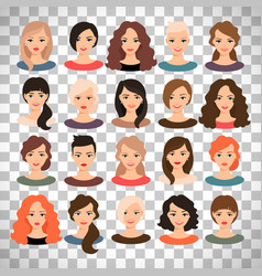Woman avatar set on transparent background vector