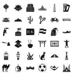 World travel icons set simple style vector