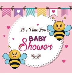 Card baby shower bee twins desing vector