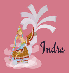 Indra sitting on elephant hindu gods invitation vector