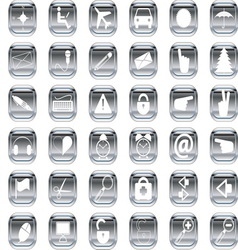 silver icons 1 vector image