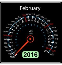 2016 year calendar speedometer car February vector image vector image