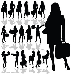 Business woman with a bag black silhouette vector