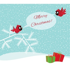 Birds in winter forest wish Merry Christmas vector image