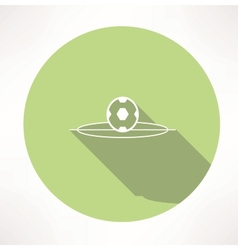 Soccer ball on football field icon vector