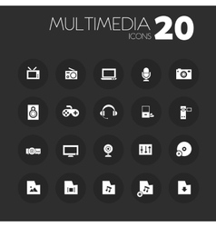 Thin multimedia icons on dark gray vector