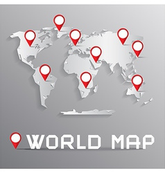 Paper Cut World Map with Bent Corners on Grey vector image