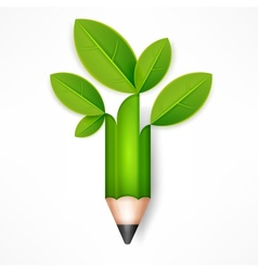 Creative pencil with green vector
