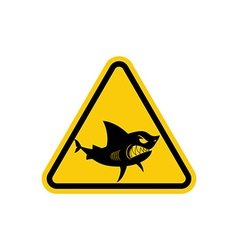Sign of attention to sharks yellow warning sign vector