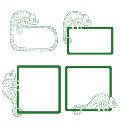 Set of icons with green chameleon vector