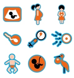 Set flat icons with long shadow pregnancy vector