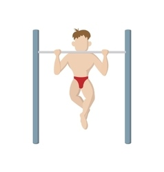 Muscle man pulling up on horizontal bar icon vector