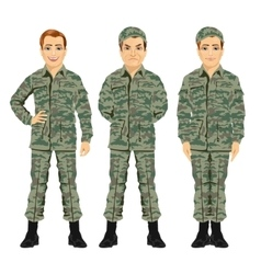 Three army soldiers posing vector