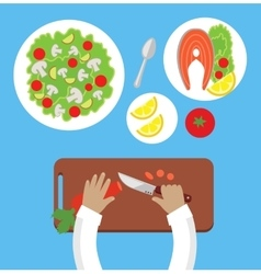 Prepare a meal top view design flat vector
