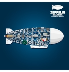 Zeppelin airship symbol with mechanical details vector