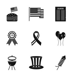 American independence day icon set simple style vector