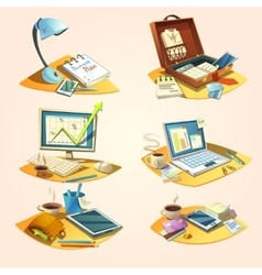 Business retro cartoon set vector