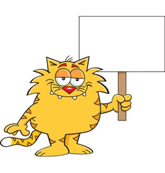 Cartoon Cat with Sign vector image vector image